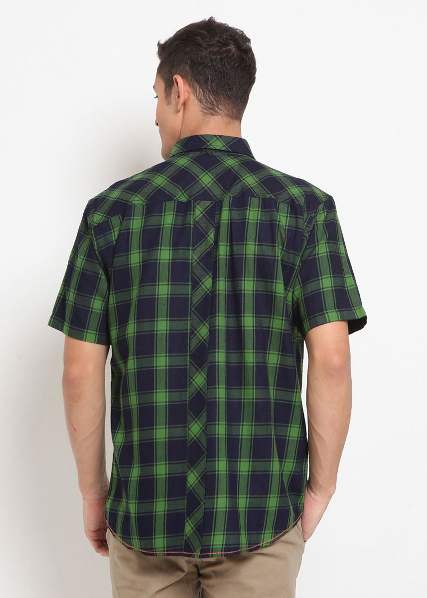 Green color Casual Shirts . POLICE Kemeja Indigo Wash Regular Fit Pria -