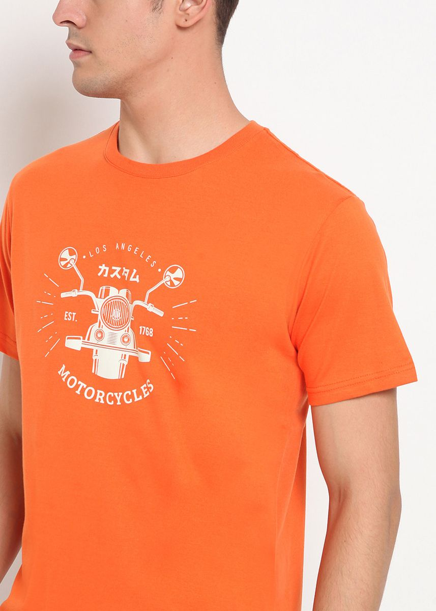 Orange color T-Shirts and Polos . XTRAORDINARY Kaos Basic Cotton Combed Pria -