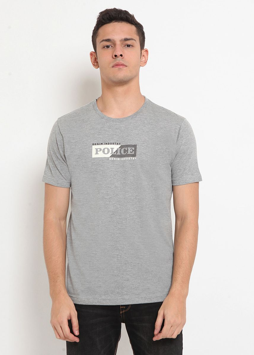 Grey color T-Shirts and Polos . POLICE Kaos Basic Pria -