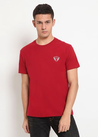 Maroon color Kaus Oblong & Polo . POLICE Kaos Basic Pria -