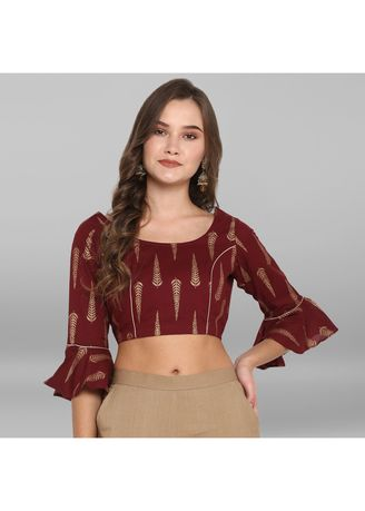 Maroon color Blouse . Janasya Women's Maroon Cotton Stitched Blouse -
