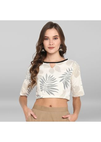 White color Blouse . Janasya Women's  Off White Cotton Stitched Blouse -
