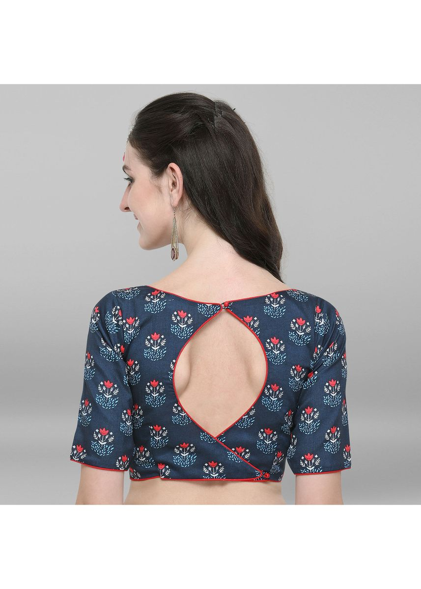 Blue color Blouse . Janasya Women's Blue Poly Silk Stitched Blouse -