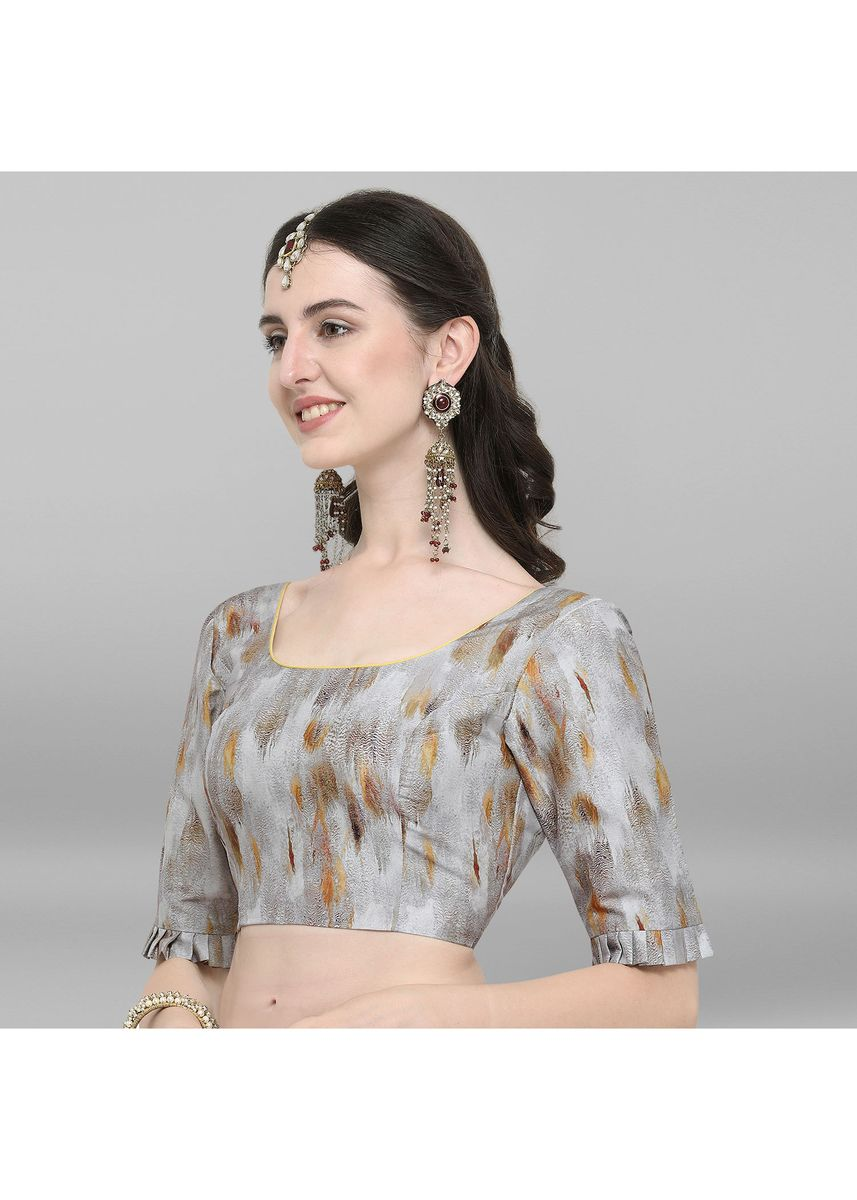 Grey color Blouse . Janasya Women's Grey Poly Silk Stitched Blouse -