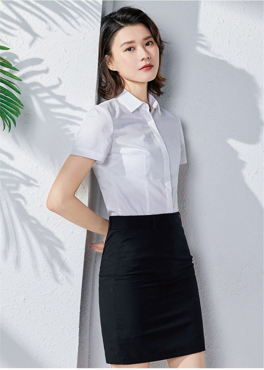 White color Tees & Shirts . Women's Business Attire Short Sleeve Shirt -