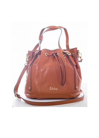 Brown color Hand Bags . Bucket Bag Pebble Leather -