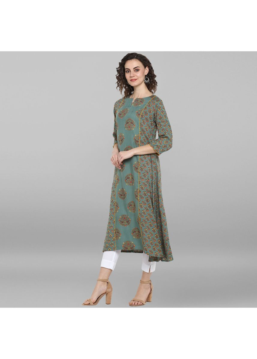 Green color Dresses . Janasya Women's Turquoise Green Rayon Kurta -