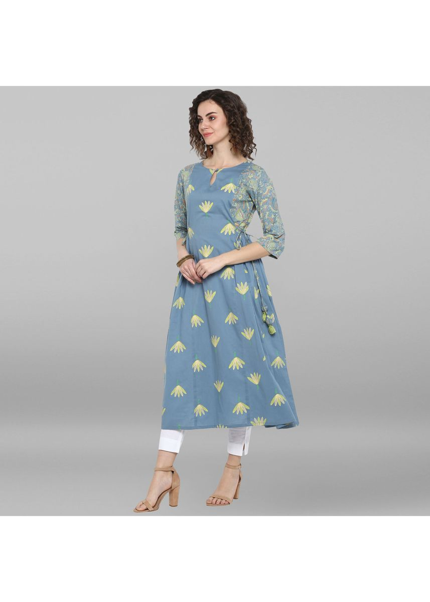 Light Blue color Dresses . Janasya Women's Sky Blue Pure Cotton Kurta -