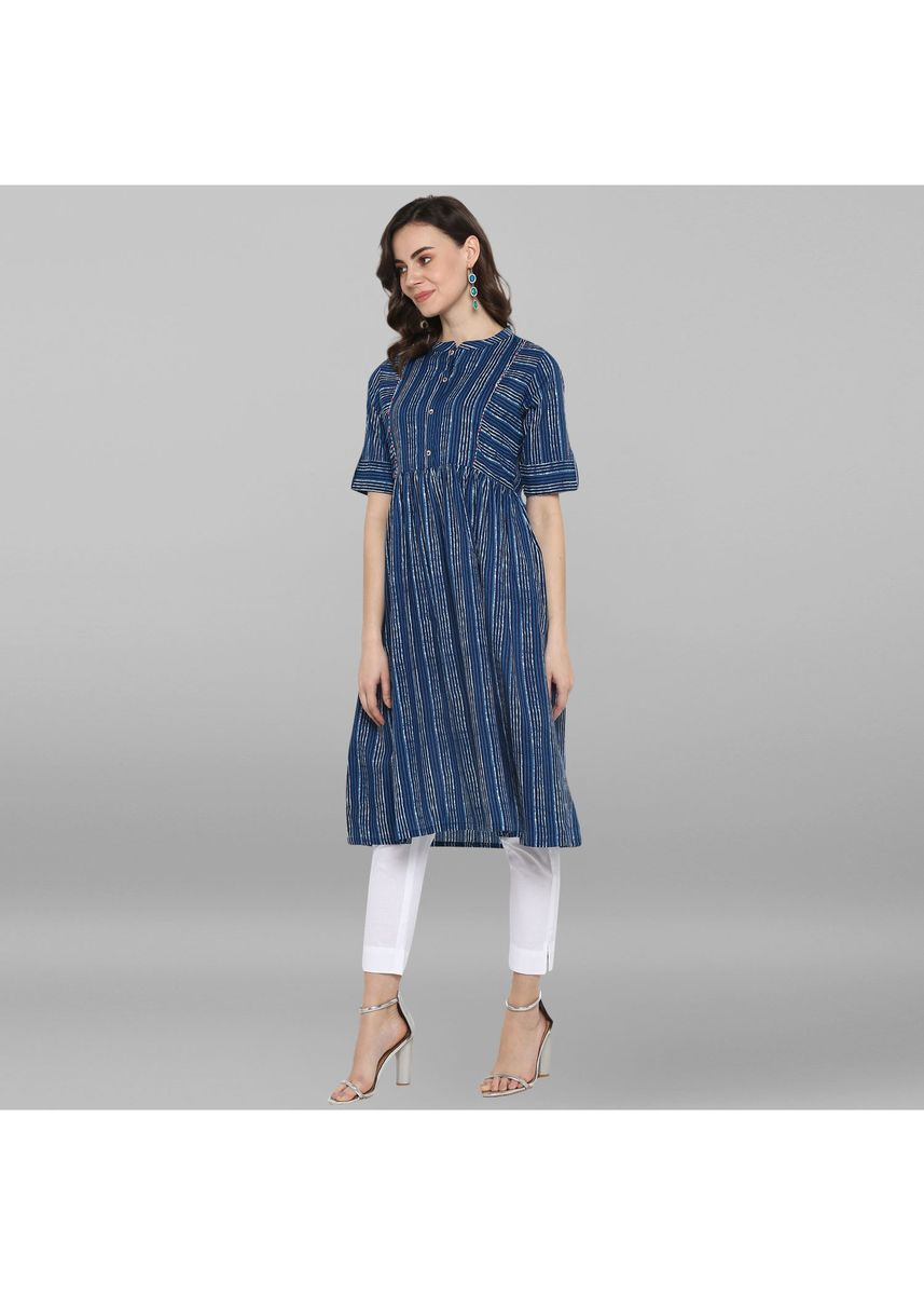 Blue color Dresses . Janasya Women's Blue Pure Cotton Kurta 1 -
