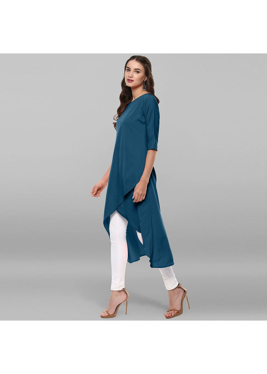 Blue color Dresses . Janasya Women's Turquoise Poly Crepe Kurta -