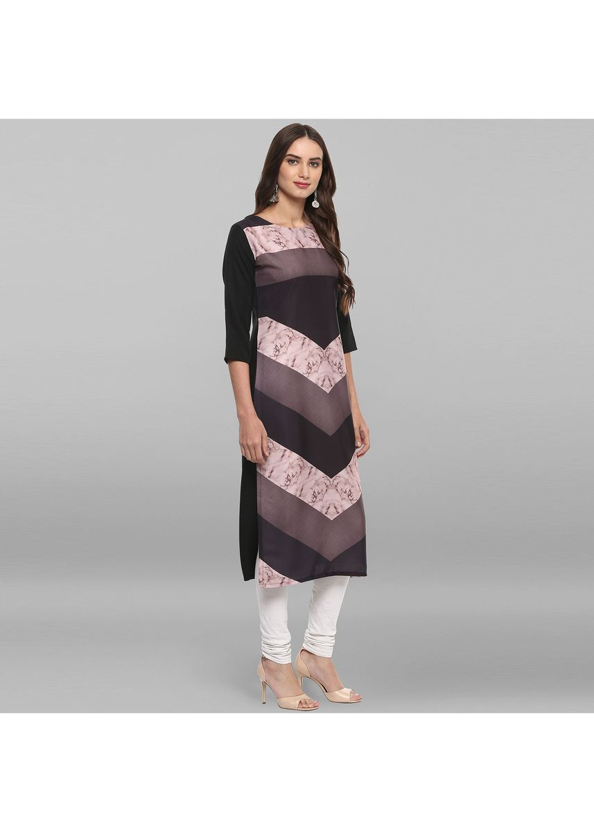 Multi color Dresses . Janasya Women's Multicolor Poly Crepe Kurta -