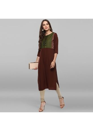 Brown color Dresses . Janasya Women's Brown Poly Crepe Kurta -