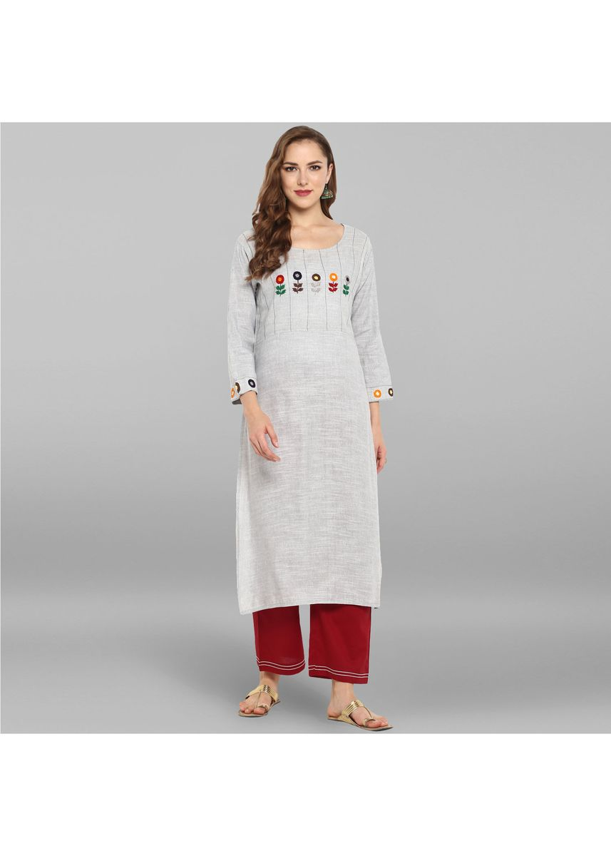 Grey color Salwar Suit . Janasya Women's Grey Pure Cotton Kurta With Pant -