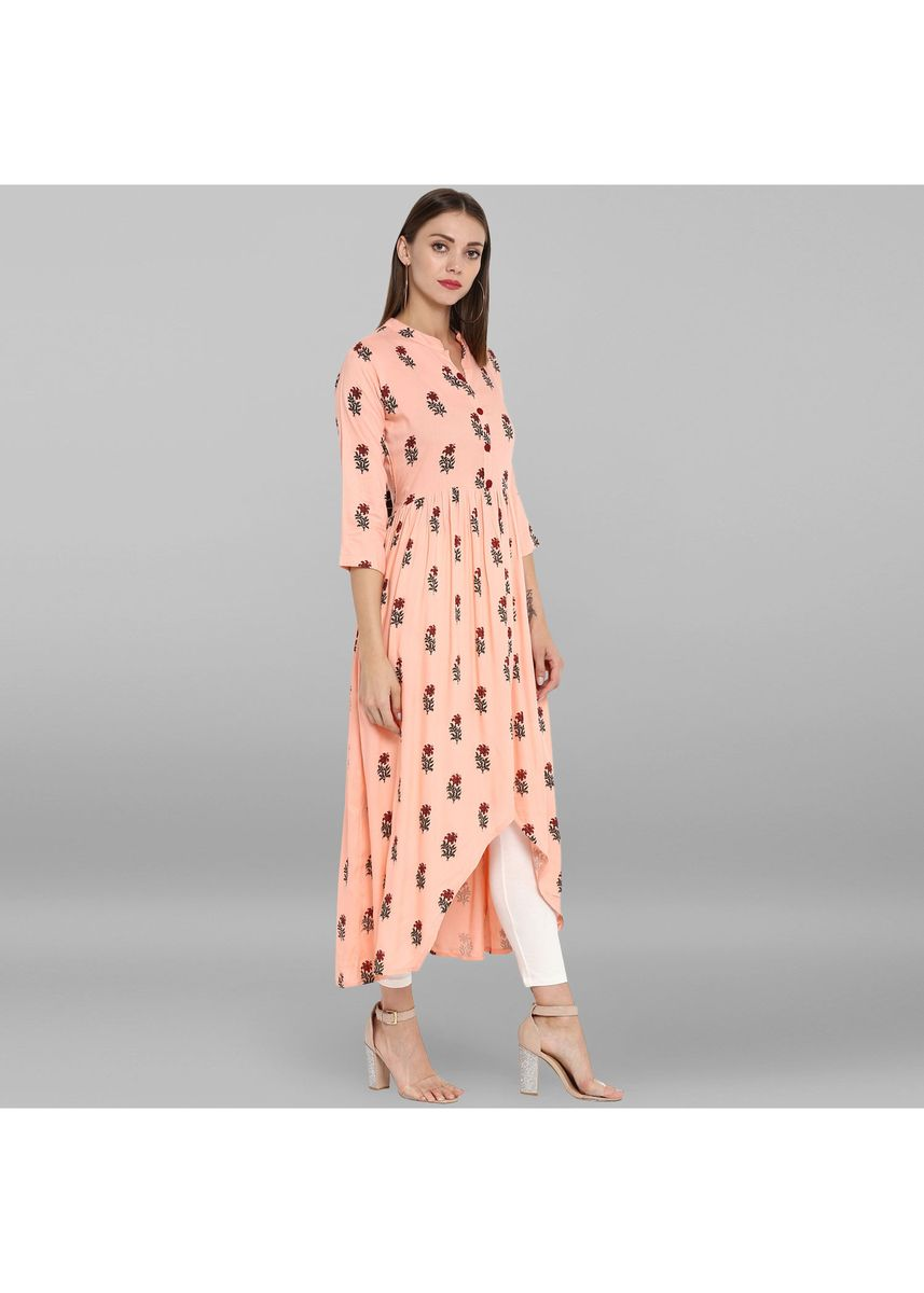 Pink color Dresses . Janasya Women's Peach Rayon Kurta -