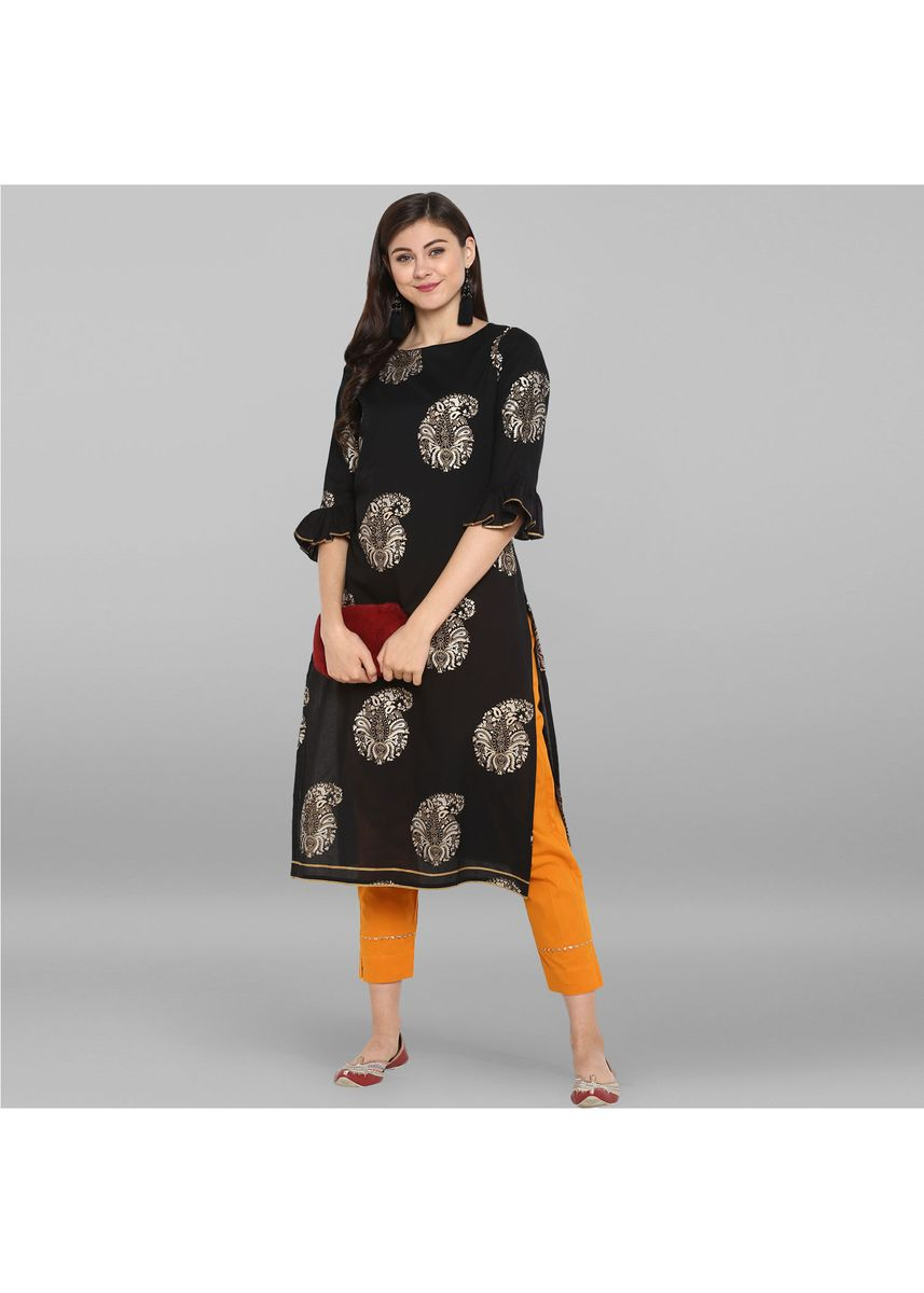 Black color Salwar Suit . Janasya Women's Black Pure Cotton Kurta With Pant -