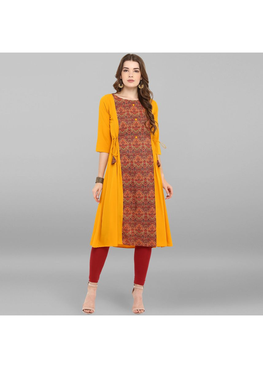 Yellow color Dresses . Janasya Women's Mustard Poly Crepe Kurta -
