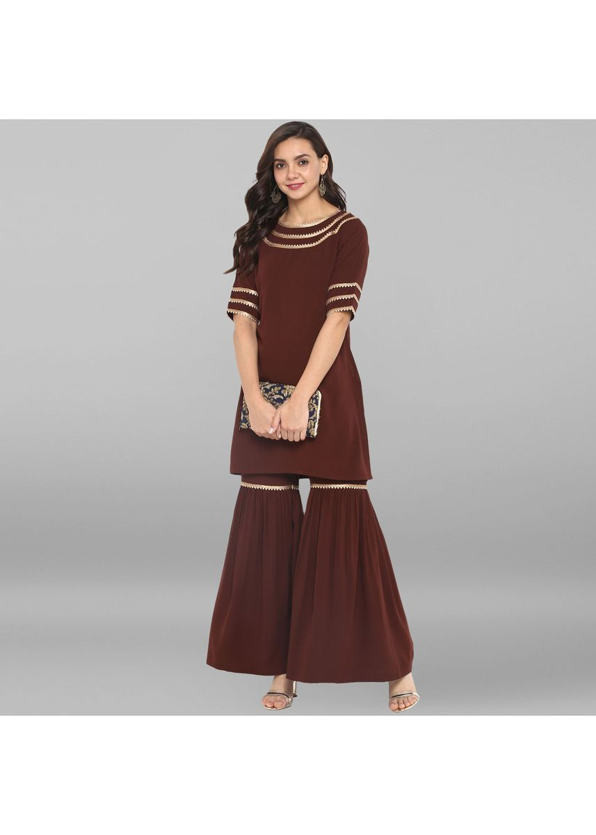 Brown color Salwar Suit . Janasya Women's Brown Poly Crepe Kurti With Sharara -