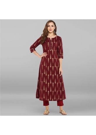 Maroon color Dresses . Janasya Women's Maroon Pure Cotton Kurta -