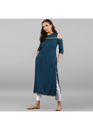 Blue color Dresses . Janasya Women's Turquoise Blue Rayon Kurta -