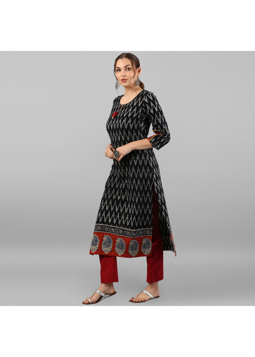 Black color Dresses . Janasya Women's Black Pure Cotton Kurta -