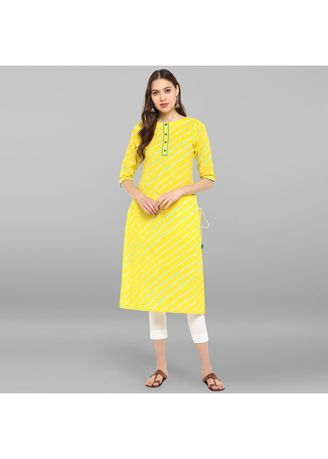 Yellow color Salwar Suit . Janasya Women's Yellow Pure Cotton Kurta With Pant -