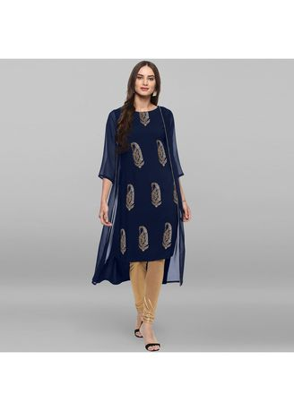 Blue color Dresses . Janasya Women's Blue Poly Crepe Jacket Style Kurta -