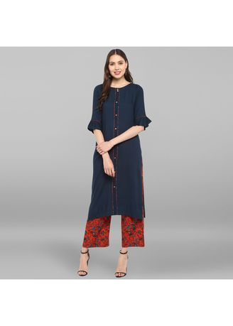 Navy color Salwar Suit . Janasya Women's Navy Blue Rayon Kurta With Palazzo -