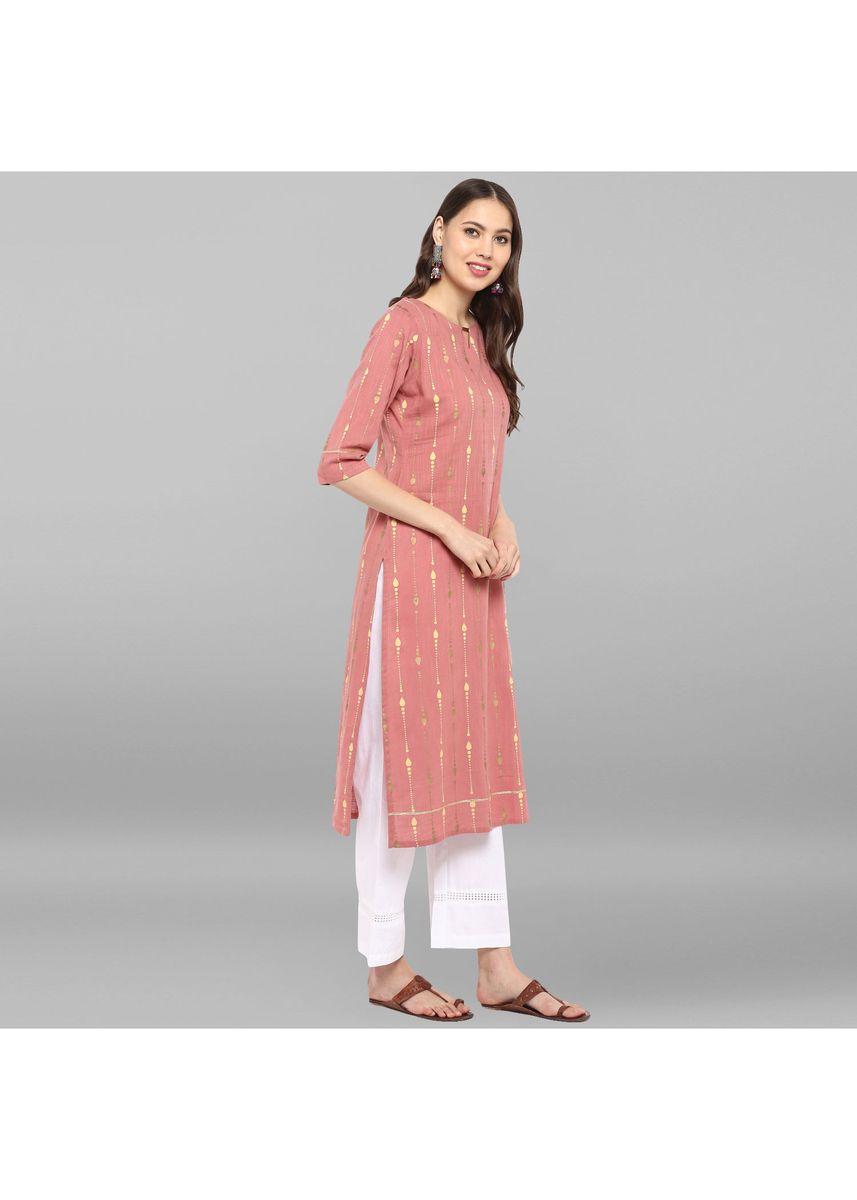 Pink color Salwar Suit . Janasya Women's Pink Pure Cotton Kurta With Palazzo -