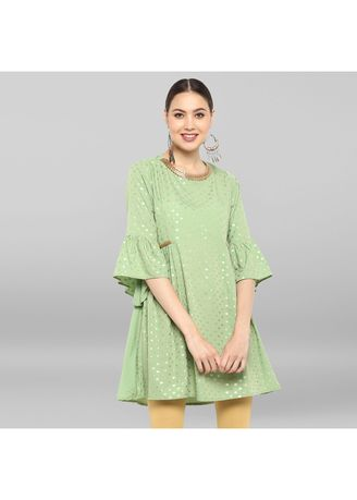 Green color Dresses . Janasya Women's Light Green Poly Crepe Short Flared Kurta -