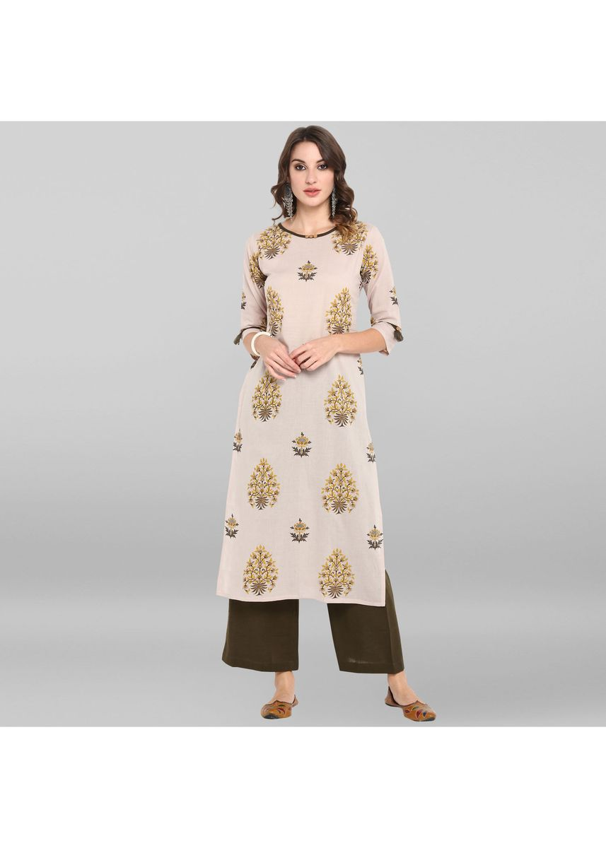 Grey color Salwar Suit . Janasya Women's Grey Cotton Kurta With Palazzo -