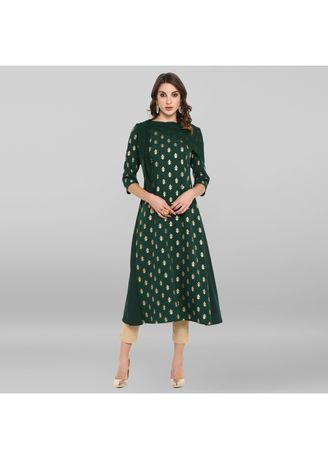 Green color Dresses . Janasya Women's Dark Green Poly Crepe Kurta With Attached Scarf -