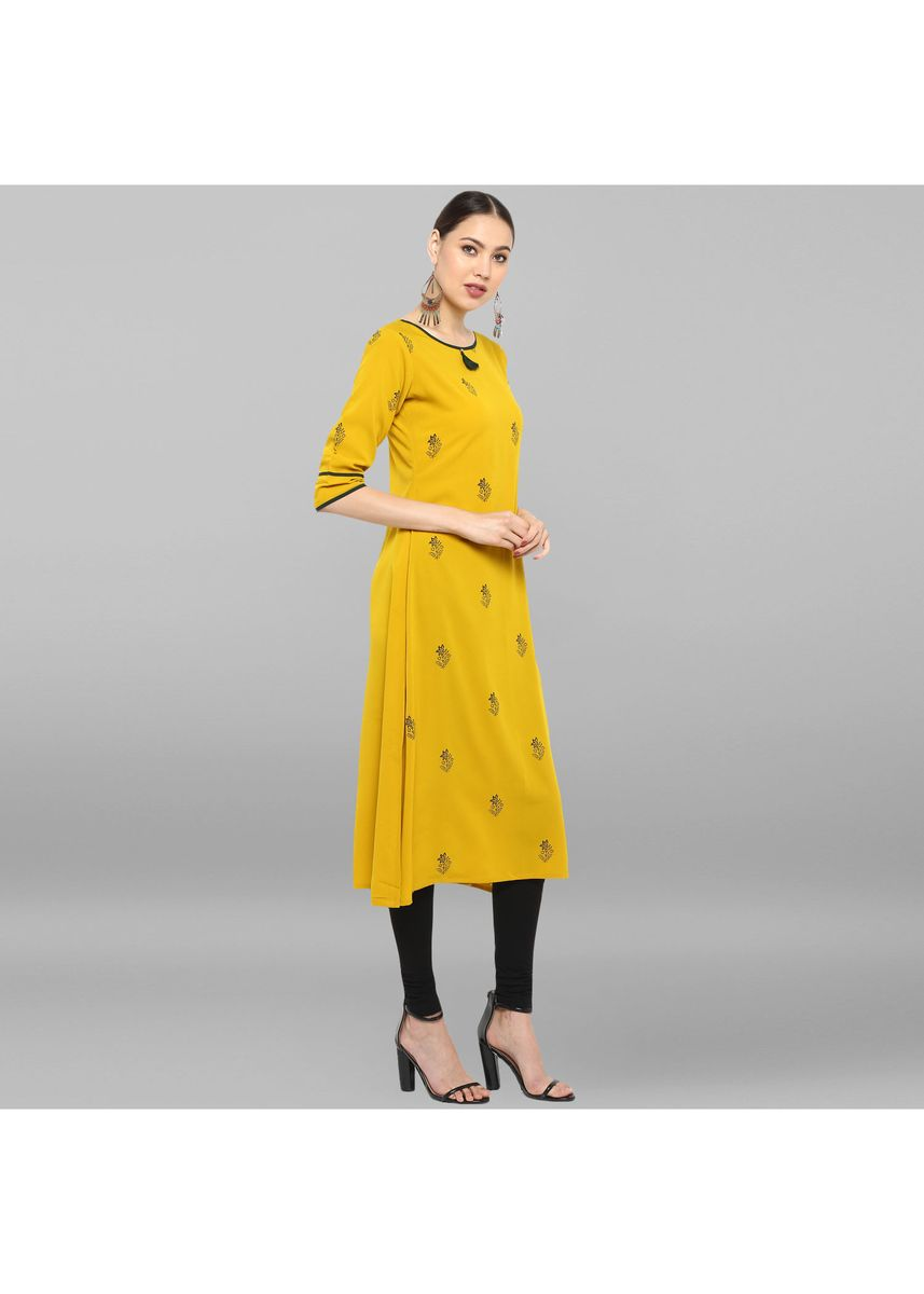Yellow color Dresses . Janasya Women's Yellow Poly Crepe Kurta -