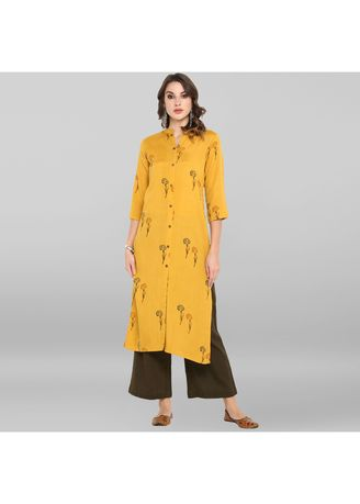 Yellow color Salwar Suit . Janasya Women's Yellow Cotton Flex Kurta With Palazzo -