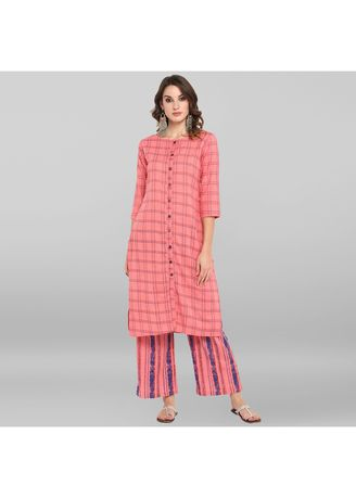Pink color Salwar Suit . Janasya Women's Pink Cotton Slub Kurta With Palazzo -