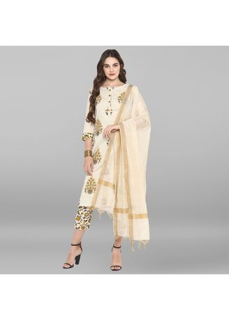 Beige color Salwar Suit . Janasya Women's Cream Pure Cotton Kurta With Pant And Dupatta -