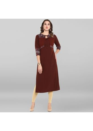 Brown color Dresses . Janasya Women's Brown Poly Crepe Kurta With Attached Jacket -