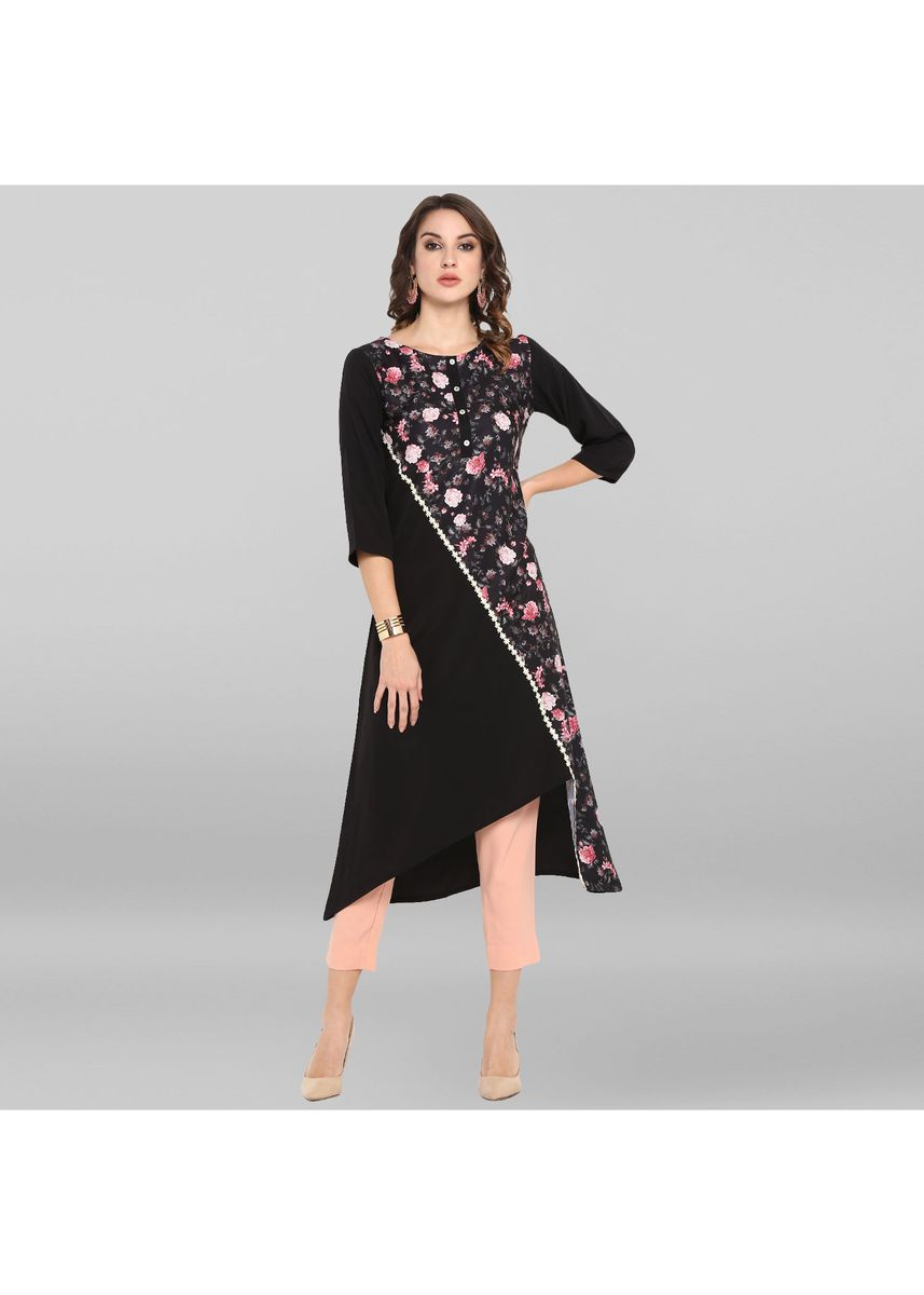 Black color Dresses . Janasya Women's Black Poly Crepe Kurta -