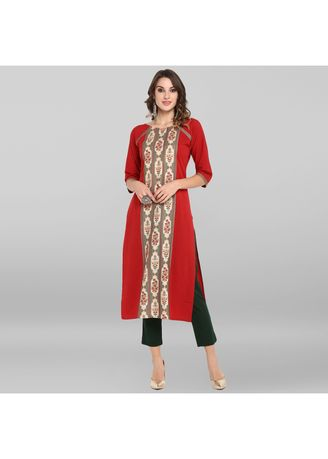 Red color Dresses . Janasya Women's Red Poly Crepe Kurta -
