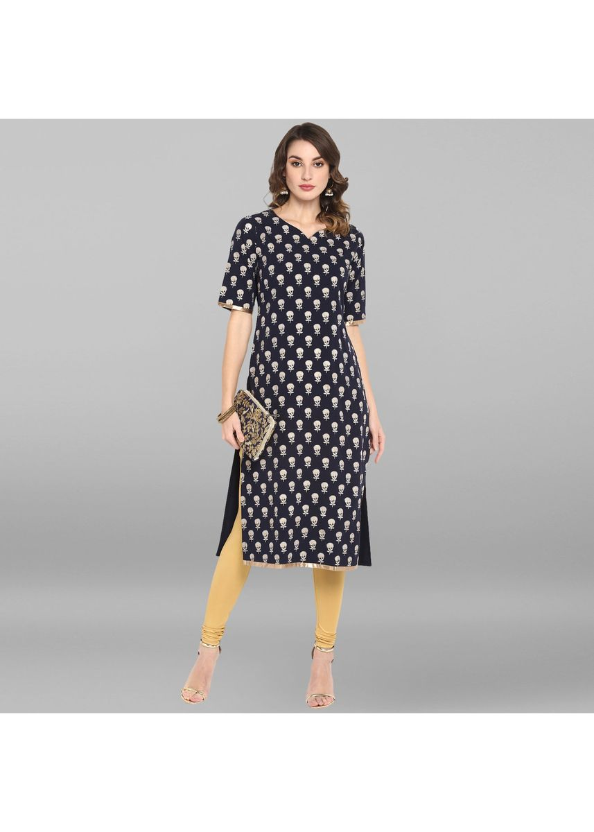 Blue color Dresses . Janasya Women's Blue Poly Crepe Kurta -