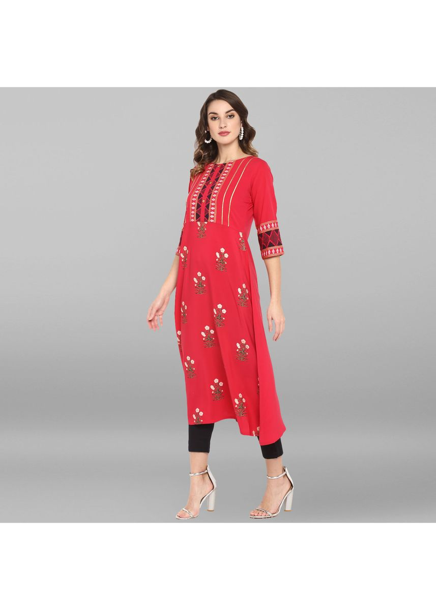 Pink color Dresses . Janasya Women's Pink Poly Crepe Kurta -