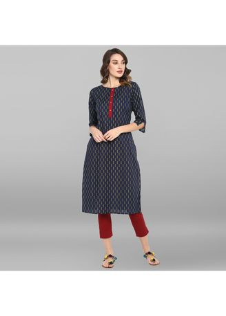 Blue color Dresses . Janasya Women's Blue Pure Cotton Kurta -