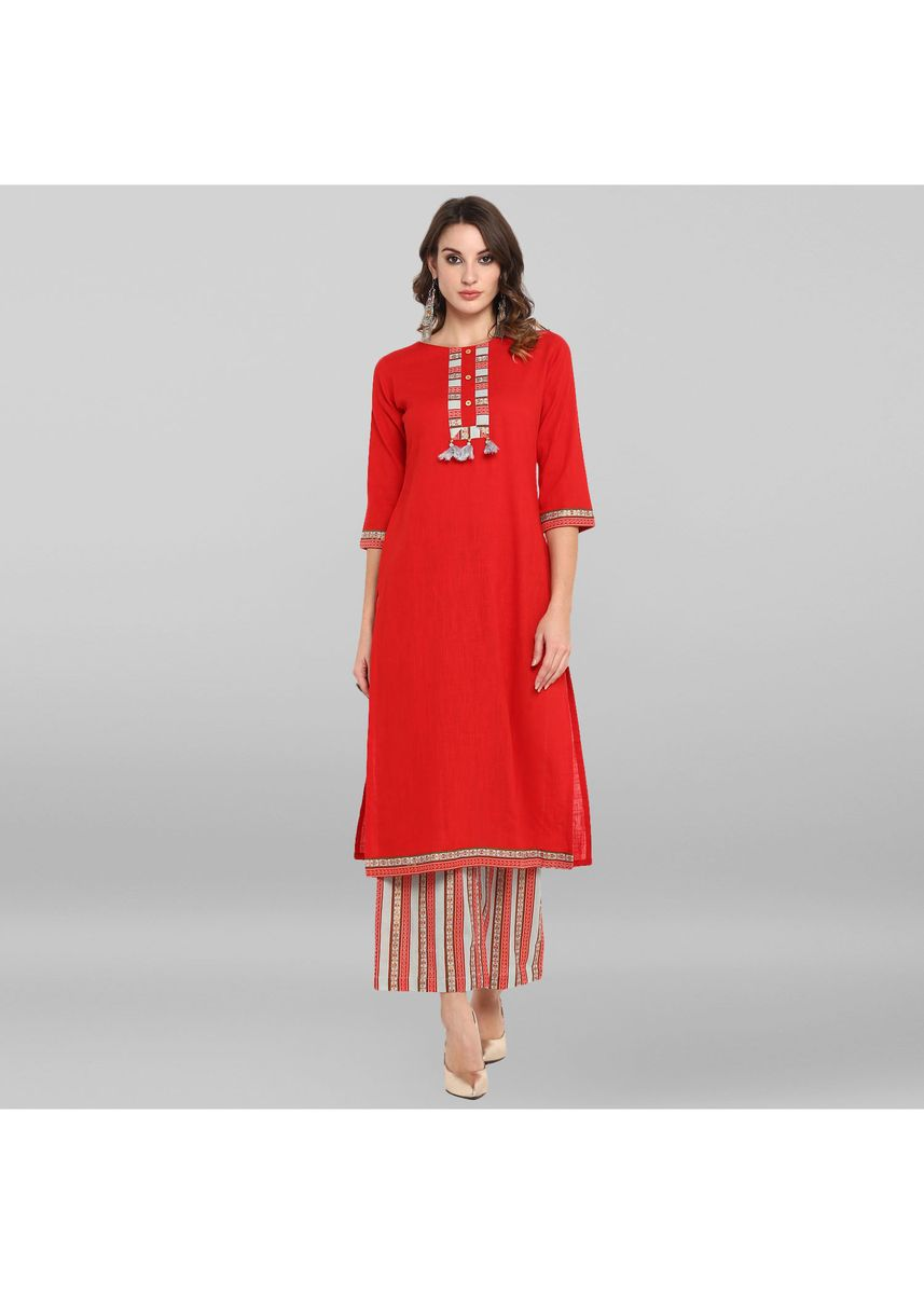 Red color Salwar Suit . Janasya Women's Red  Rayon Kurta With Palazzo -