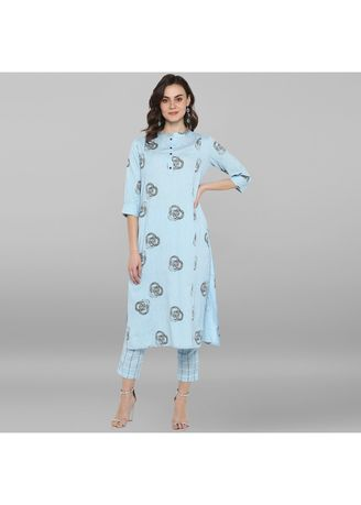 Blue color Salwar Suit . Janasya Women's Sky Blue Pure Cotton Kurta With Pant -