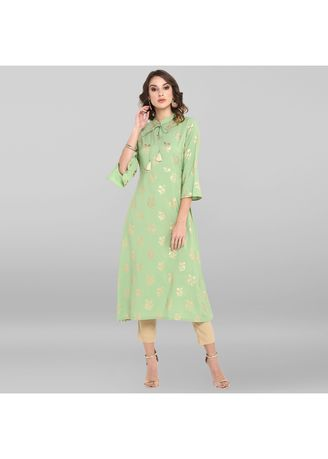 Green color Dresses . Janasya Women's Light Green Poly Crepe Kurta -