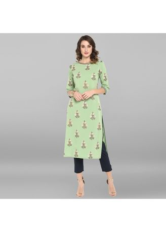 Green color Dresses . Janasya Women's Light Green Poly Crepe Kurta 2 -
