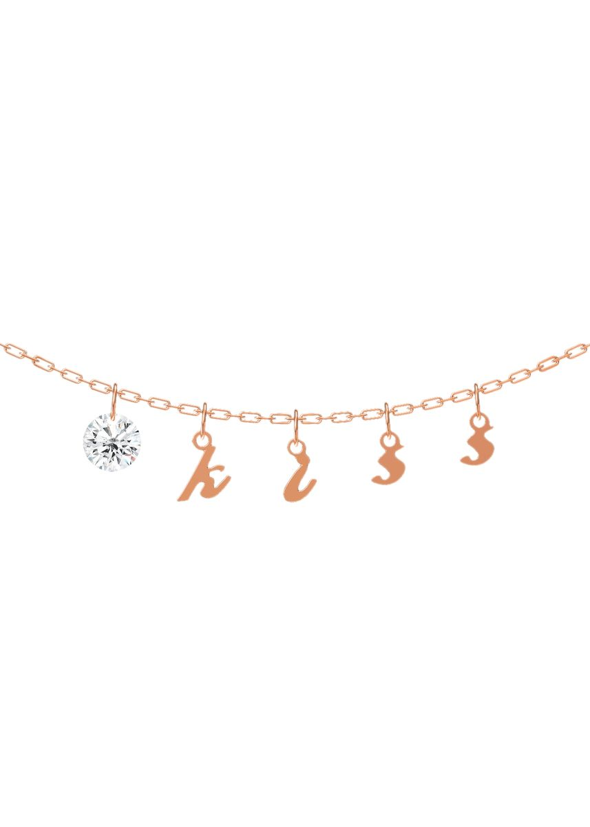 ชมพู color  . Kiss Diamond Necklace -