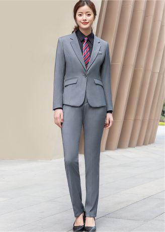 Grey color Tops and Tunics . Women's Solid Color Blazer Trousers Suit Set  -
