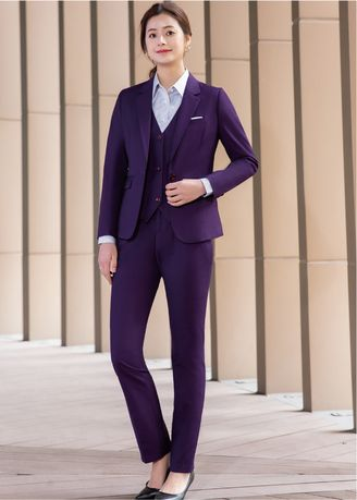 Tops and Tunics . Women's Solid Color Blazer Trousers Suit Set  -