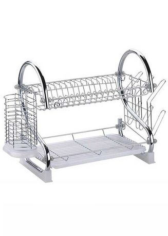 White color Kitchen . Celina Home Textiles Double Layer Plate Bowel Cup Cutlery Dish Drainer Dryer Drip Tray Storage Rack Holder Style -