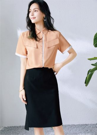 Orange color Tees & Shirts . Women's Lapel Solid Color Short Sleeve Shirt -